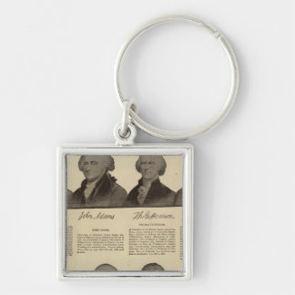 Presidents US, autographs, biographies 2 Silver-Colored Square Keychain