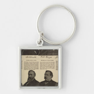 Presidents US, autographs, biographies Silver-Colored Square Keychain