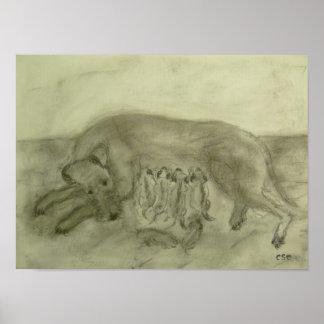 """Presión de lienzo """"Terrier Irlandesa perra con cac Impresiones"""