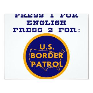 """Presione 1 para el inglés 2 para la patrulla invitación 4.25"""" x 5.5"""""""