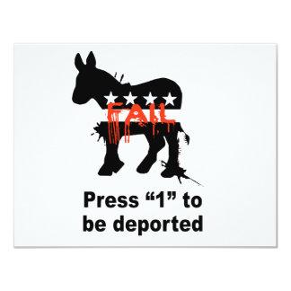 """Presione 1 para estar deportado invitación 4.25"""" x 5.5"""""""