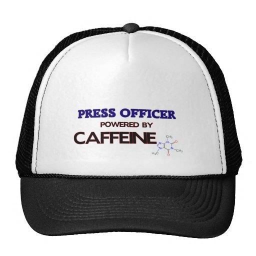 Presione al oficial accionado por el cafeína gorras de camionero