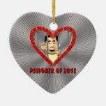 Preso del amor 2 adorno de cerámica en forma de corazón