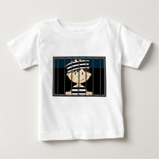 Preso del dibujo animado en celda de prisión playera de bebé