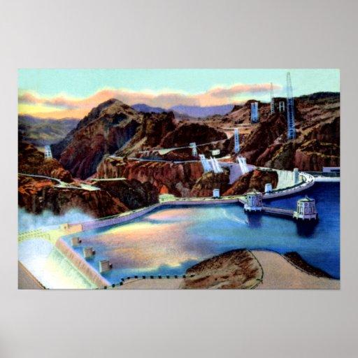 Preso Hoover y aliviadero de Nevada de la ciudad d Póster
