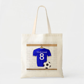Presonalized Blue White Football Soccer Jersey Tote Bags