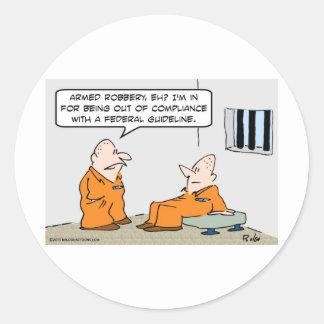 presos federales de la pauta de la conformidad pegatina redonda