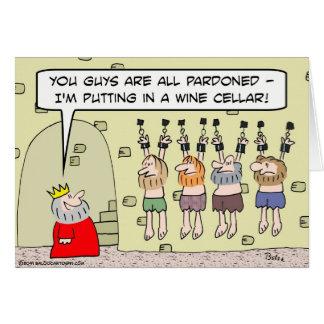 presos pardoned mazmorra del rey de la bodega tarjeta de felicitación