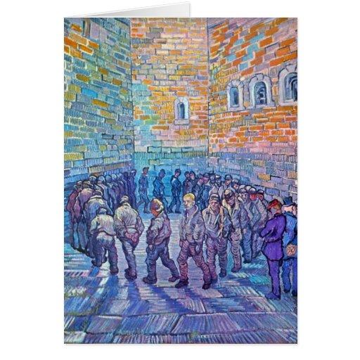 Presos que caminan la ronda de Vincent van Gogh Tarjetón