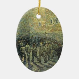 Presos que ejercitan por Vincent van Gogh Adorno Navideño Ovalado De Cerámica