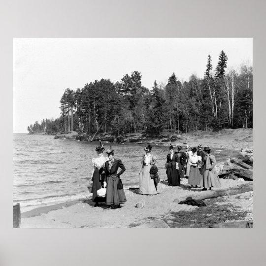Presque Isle Beach Scene, 1890s Poster
