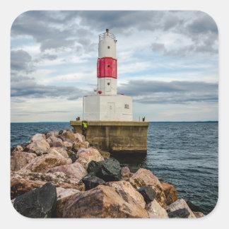Presque Isle Harbor Breakwater Lighthouse Square Sticker