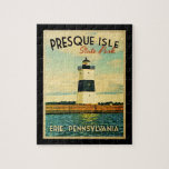 "Presque Isle Lighthouse Jigsaw Puzzle<br><div class=""desc"">This gorgeous lighthouse in Presque Isle State Park in Erie,  Pennsylvania has a beautiful watercolor type palette to it and our signature vintage look.</div>"