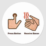 press button receive bacon classic round sticker