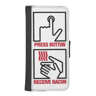 Press Button - Receive Bacon Wallet Phone Case For iPhone SE/5/5s
