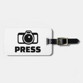 Press camera tag for luggage