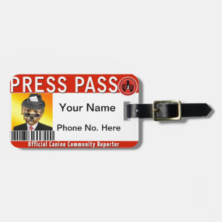 PRESS PASS for Canine Community Reporters Luggage Tag