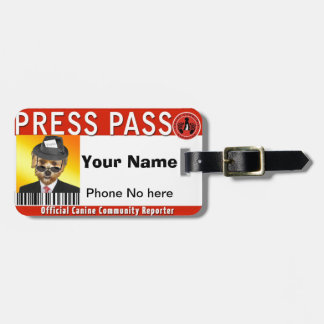 PRESS PASS for Canine Community Reporters Tag For Luggage
