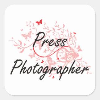 Press Photographer Artistic Job Design with Butter Square Sticker