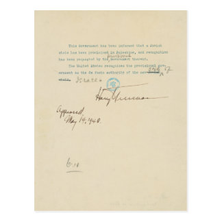 Press Release Announcing US Recognition of Israel Postcard