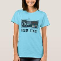 Press Start Retro Gaming T-Shirt for Women
