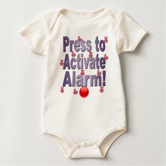 PRESS TO ACTIVATE ALARM BABY BODYSUIT