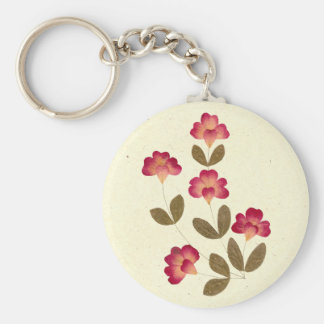 Pressed Bright Pink Tube Flowers Keychain