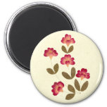 Pressed Bright Pink Tube Flowers 2 Inch Round Magnet