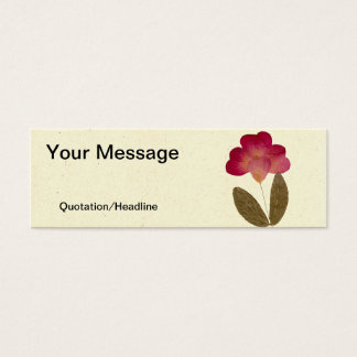 Pressed Bright Pink Tube Flowers Mini Business Card