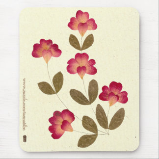 Pressed Bright Pink Tube Flowers Mouse Pad