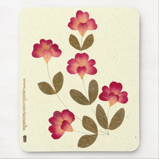 Pressed Bright Pink Tube Flowers Mousepad