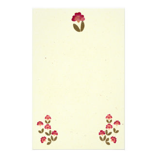 Pressed Bright Pink Tube Flowers Stationery
