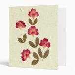 Pressed Bright Pink Tube Flowers Vinyl Binders