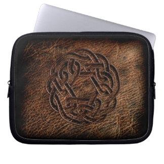 Pressed celtic knot on geniune leather computer sleeve