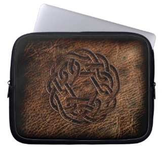 Pressed celtic knot on geniune leather computer sleeve