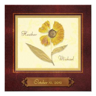 Pressed Flower Frame Autumn Wedding Invitation