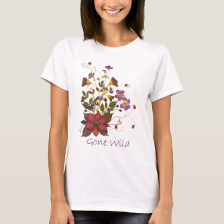 Pressed Flower T-Shirt - Clematis, Blossoms, Buds