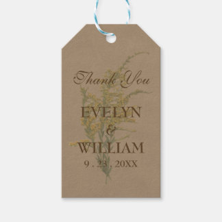 Pressed Goldenrod on Kraft Paper Gift Tags