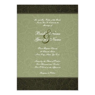 "Pressed Leather  Wedding Invitation 5"" X 7"" Invitation Card"