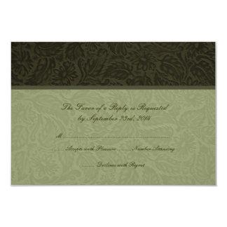 Pressed Leather  Wedding Invitation RSVP card