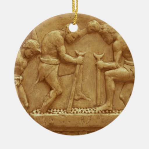 Pressing the Grapes (marble) Christmas Tree Ornament