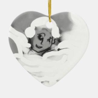 pressingforwardskateblkandwht.png ceramic ornament