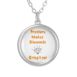 Pressure makes diamonds silver plated necklace