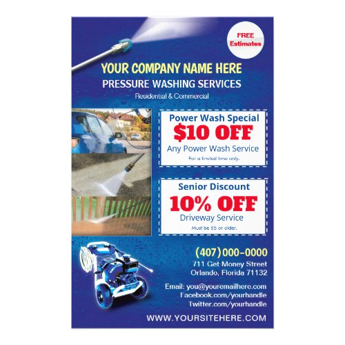 Pressure Power Washing  Half Page Template