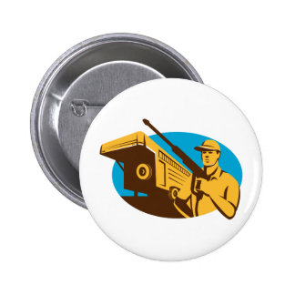 Pressure Washer Cleaner Worker Trailer Retro Button
