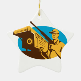 Pressure Washer Cleaner Worker Trailer Retro Double-Sided Star Ceramic Christmas Ornament