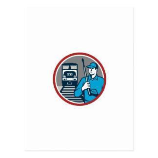 Pressure Washer Train Rail Circle Retro Postcard