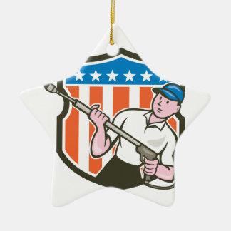 Pressure Washer Water Blaster USA Flag Cartoon Ceramic Ornament