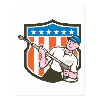 Pressure Washer Water Blaster USA Flag Cartoon Postcard