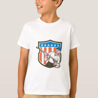 Pressure Washer Water Blaster USA Flag Cartoon T-Shirt